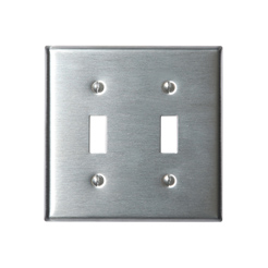 Stainless wallplate 2-gang toggle