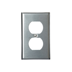 Stainless wallplate 1-gang duplex-2