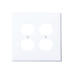 Wallplate 2-gang 2-duplex white