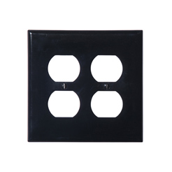 Wallplate 2-gang 2-duplex black