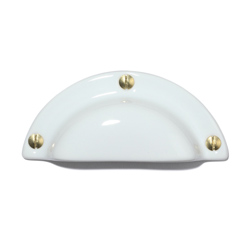 Porcelain drawer pull screwable wht