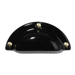Porcelain drawer pull screwable blk