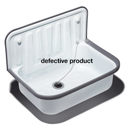 Utility sink white enameled / defective