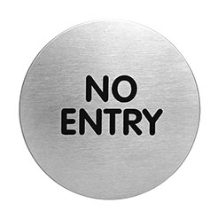 Adhesive NO ENTRY sign